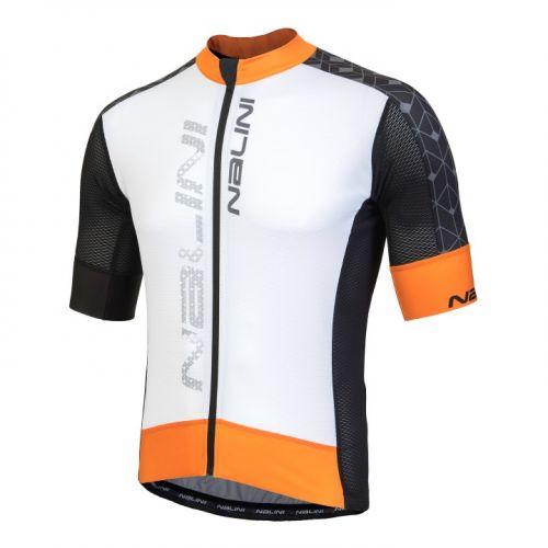 Koszulka kolarska Nalini Velocita biało-czarno-pomarańczowa 4020