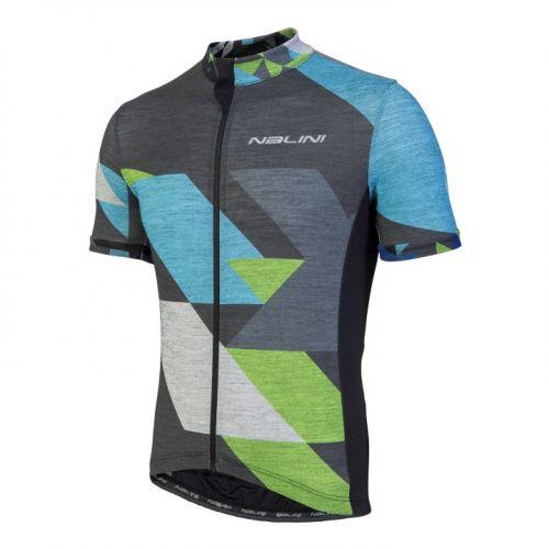 Koszulka kolarska Nalini Rapidita szaro-niebiesko-zielona 4400
