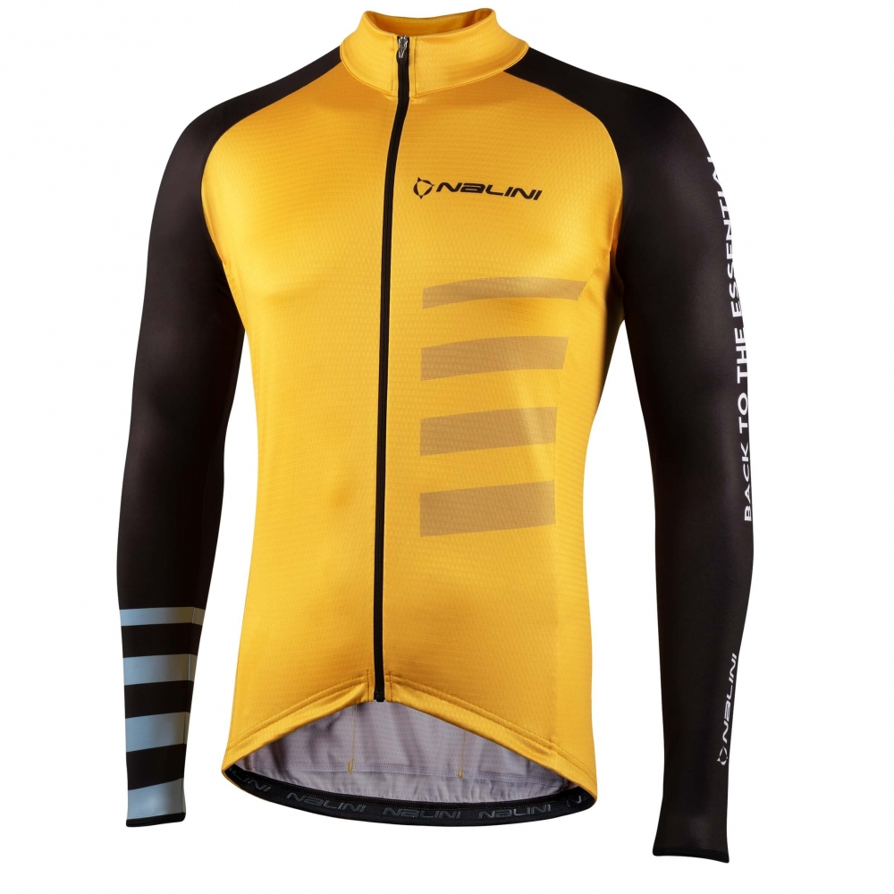 Bluza kolarska żółto-czarna LS Stripes Jersey 4060 fr