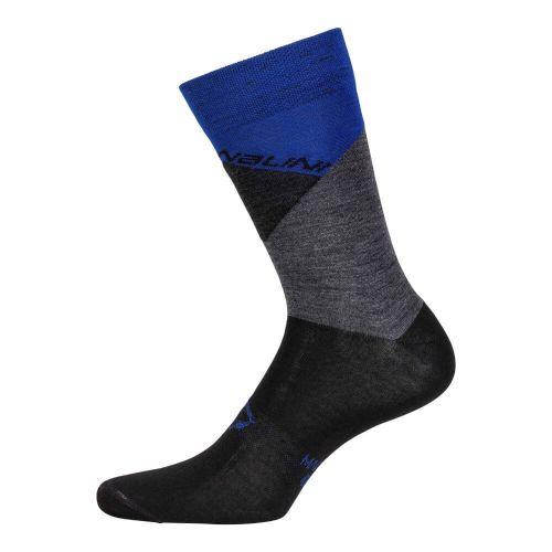 Skarpetki kolarskie Crit wełniano-poliamidowe, czarno-niebieskie  4200