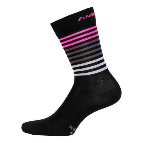 Skarpetki kolarskie Logo wełniano-poliamidowe, czarno-różowe  4700